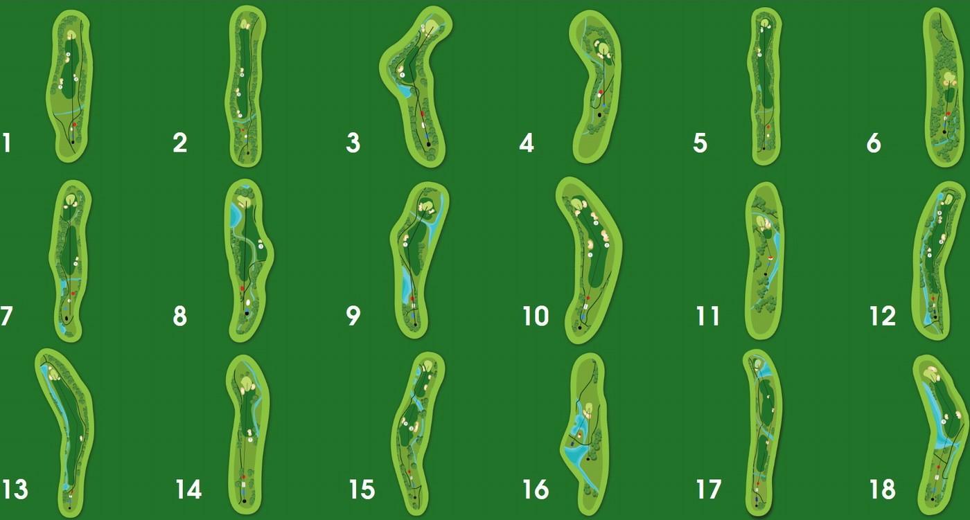 Bản đồ 18 lỗ sân golf SAM Tuyền Lâm