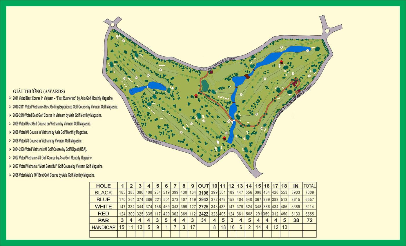 Bản đồ bố trí sân golf Đà Lạt Palace