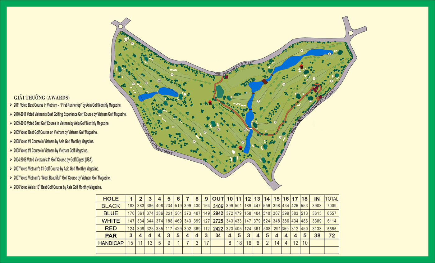 golf map of Dalat Palace Golf Club
